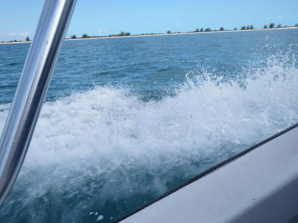 Seawater splashing off a boat
